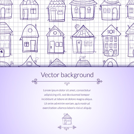 Vector illustration outine houses in cartoon style on notebook sheet background with horizontal place for text Vector