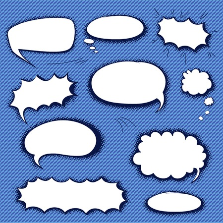 Set of empty graphic black and white comics speech bubbles, vector templates for your text with shadow halftone on blue background