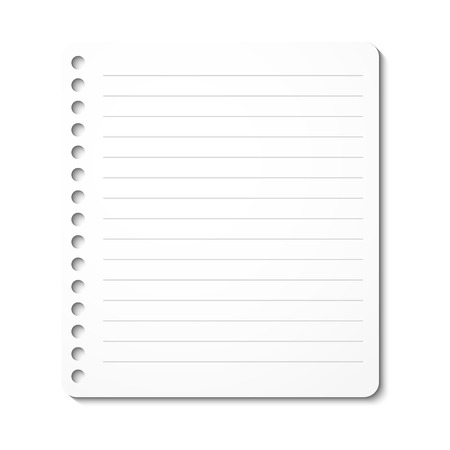 rounded edges: Notebook paper sheet in line, vector isolated illustration Illustration