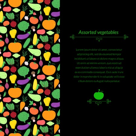 Vegetables vector dark background with great abundance of bright colorful vegetables, with place for text Vector