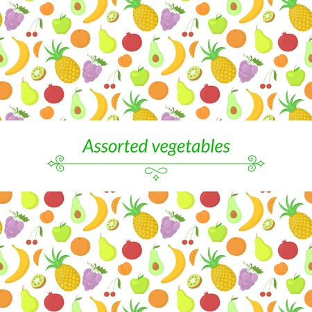 abundance: Fruit vector background with great abundance of bright colorful fruit, with place for text