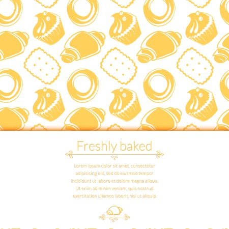 Vector illustration  delicious pastries, cookies, croissants, biscuits in outline doodle style, background with place for text Illustration