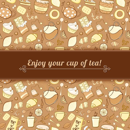 lump: Tea and sweets vector background in doodle style with place for text, template for use as packaging, fabric, paper,