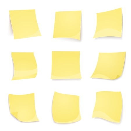 Vector yellow stickies note isolated on white background in realistic style Vector