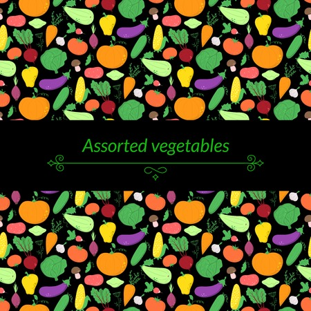 abundance: Vegetables vector dark background with great abundance of bright colorful vegetables, with place for text