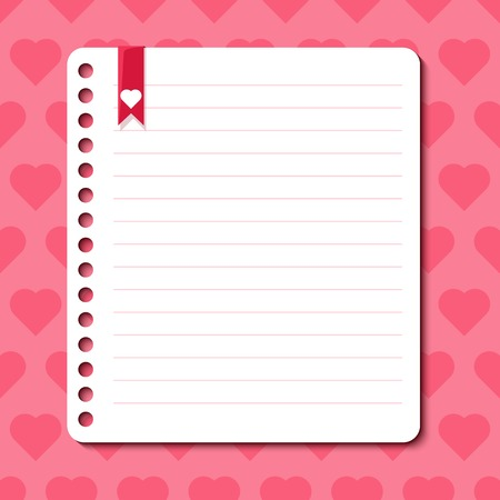 rounded edges: Vector background with hearts and space for text in the form of a sheet torn from a notebook Illustration