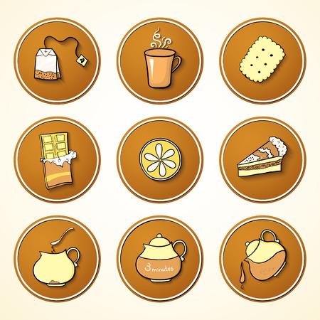 漫画スタイルでお茶とお菓子のオブジェクト丸いアイコンを設定します。  イラスト・ベクター素材