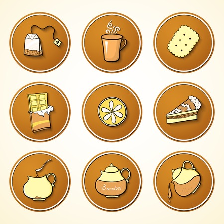 Set round icons tea and sweets objects in cartoon styles Vector