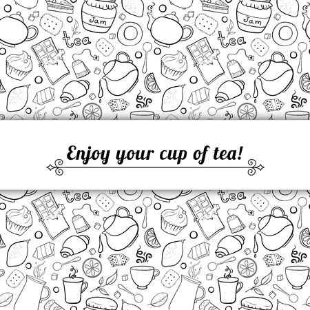 Tea and sweets black and white vector background in doodle style with place for text, template for use as packaging, fabric, paper, Vector