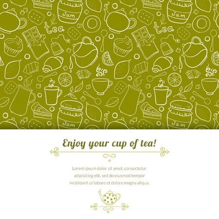 Tea and sweets vector background in doodle style with place for text, template for use as packaging, fabric, paper,