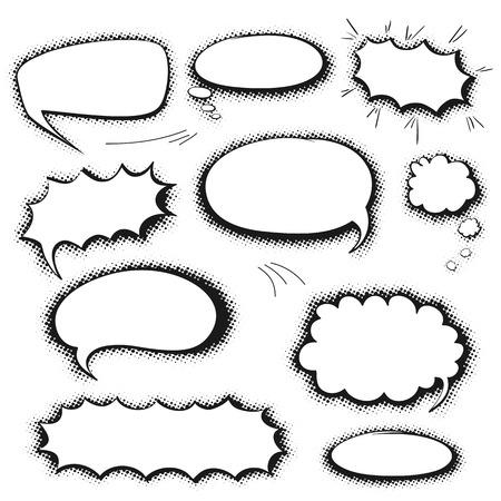 Conjunto de burbujas de cómic en blanco y negro de habla gráficas vacías, plantillas de vectores para el texto con el tono medio sombra sobre fondo blanco