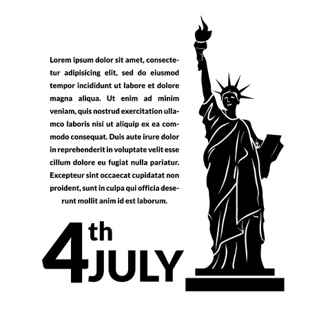 declaration of independence: Black and white vector illustration of independence day USA, holiday card by July 4