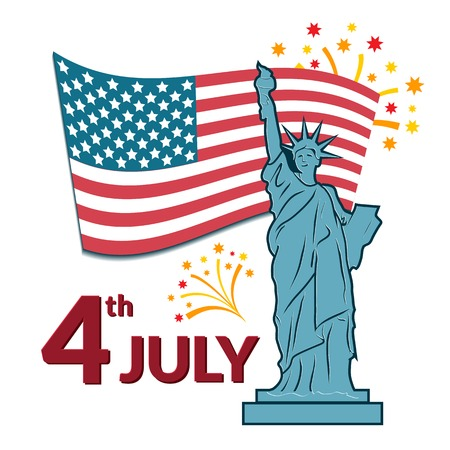 Colorful vector illustration of independence day USA, holiday card by July 4 with the Statue of Liberty Vector