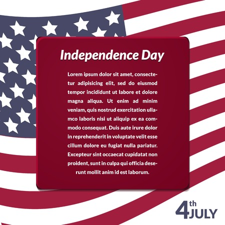 Colorful vector illustration of independence day USA, holiday card by July 4 Vector