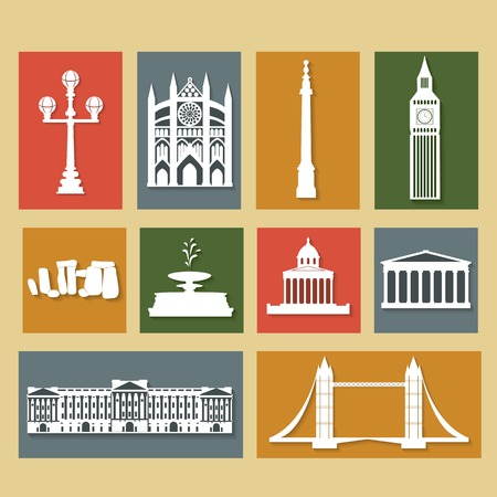 Landmarks of United Kingdom, vector colorful cartoon flat icon set Vector