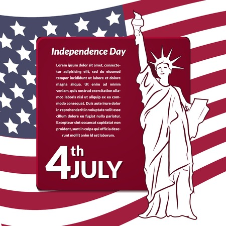 declaration: Colorful vector illustration of independence day USA, holiday card by July 4 with the Statue of Liberty