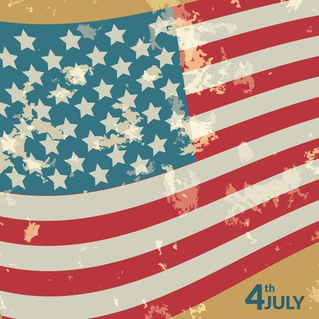Colorful vintage vector illustration of independence day USA with national flag, holiday card by July 4 Vector