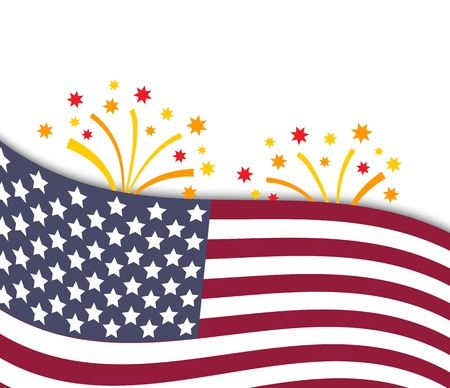 Colorful vector illustration of independence day USA with national flag and fireworks, holiday card by July 4 Vector