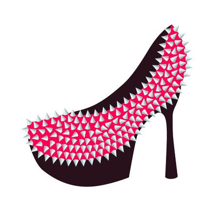 Womens fashion high-heeled shoes pink decorated with studs, vector illustration Illustration