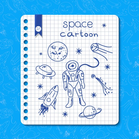 rounded edges: Cosmos vector background with childrens drawings on a sheet torn from a notebook