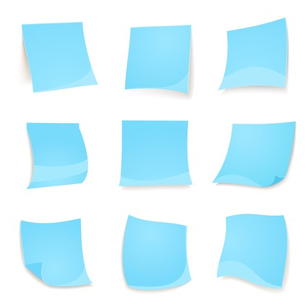 Vector blue stickies note isolated on white background in realistic style Vector