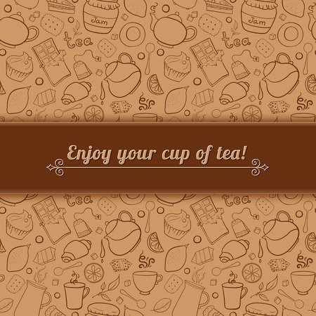 Tea and sweets vector background in doodle style with place for text, template for use as packaging, fabric, paper, Vector