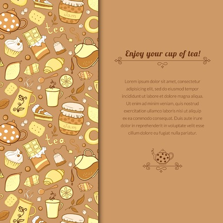 Vector tea background for template card with place for text Vector