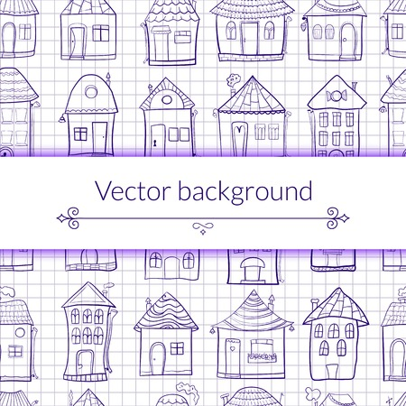 Vector illustration outine houses in cartoon style on notebook sheet background with central place for text Vector