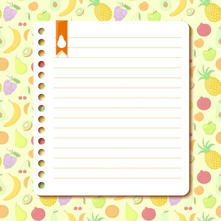 rounded edges: Fruit vector background with space for text in the form of a sheet torn from a notebook Illustration