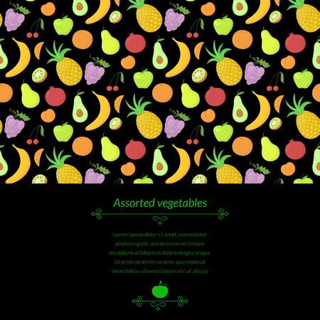abundance: Fruit vector dark background with great abundance of bright colorful fruit, with place for text Illustration