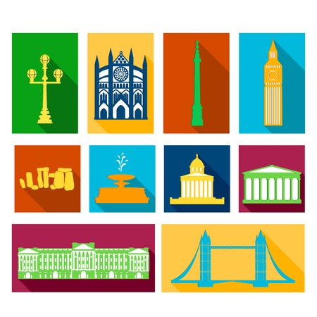 Landmarks of United Kingdom, vector flat icons with long shadows Vector