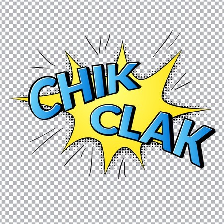 clack: Comic bubbles vector isolated illustration, sound armor