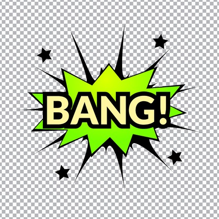 Comic bubbles vector isolated illustration, gun mechanical sounds Illustration
