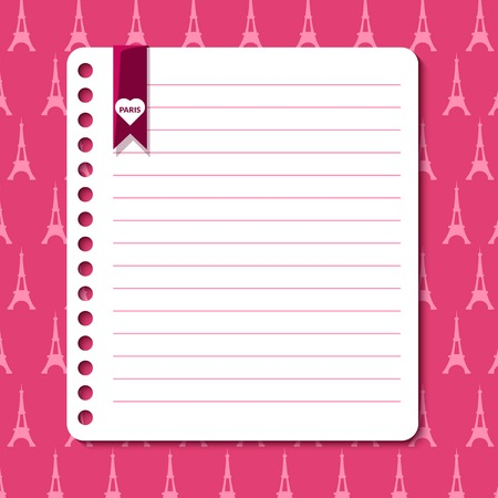 rounded edges: Paris vector background with space for text in the form of a sheet torn from a notebook