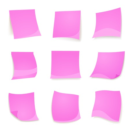 Vector pink stickies note isolated on white background in realistic style