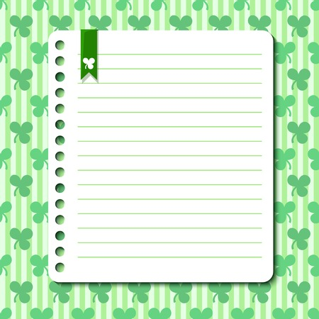 St. Patricks Day vector background with space for text in the form of a sheet torn from a notebook Vector