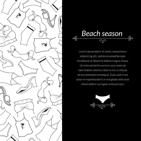 Black and white vector illustration clothes woman with vertical space for text