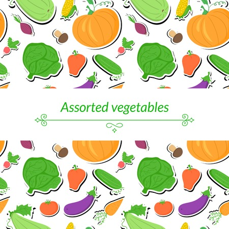 abundance: Vegetables vector light background with great abundance of bright colorful vegetables, with place for text Illustration
