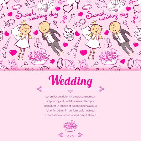 Vector romantic wedding illustration in cartoon style with cute characters and horizontally space for text Vector