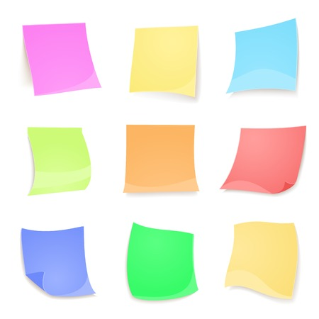 Vector colorful stickies note isolated on white background in realistic style Vector