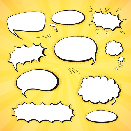 Set of empty graphic comics speech bubbles, vector templates clouds for text, white with black stroke on abstract background