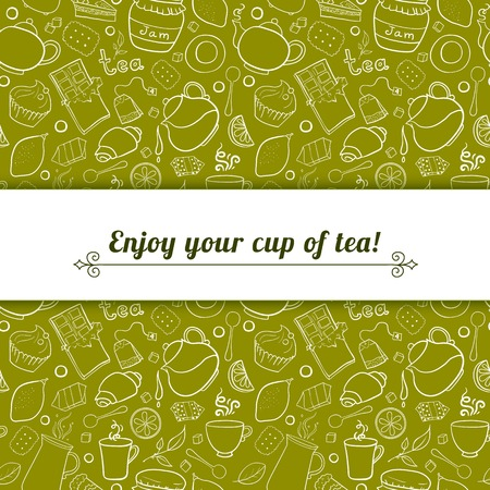 Tea and sweets vector background in doodle style with place for text, template for use as packaging, fabric Vector