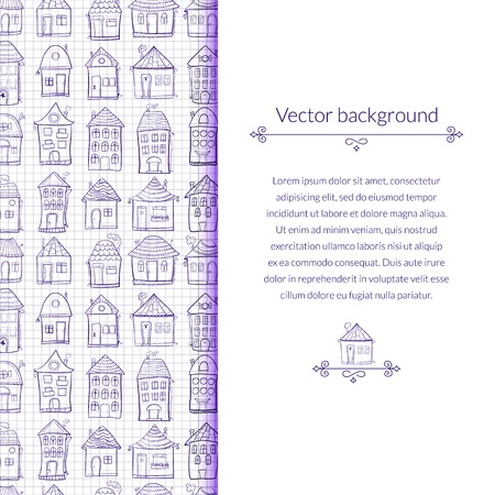 Vector illustration outine houses in cartoon style on notebook sheet background with vertical place for text Vector