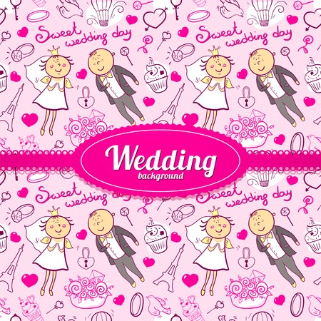 Vector romantic wedding illustration in cartoon style with cute characters and  beautiful ribbon and label Vector