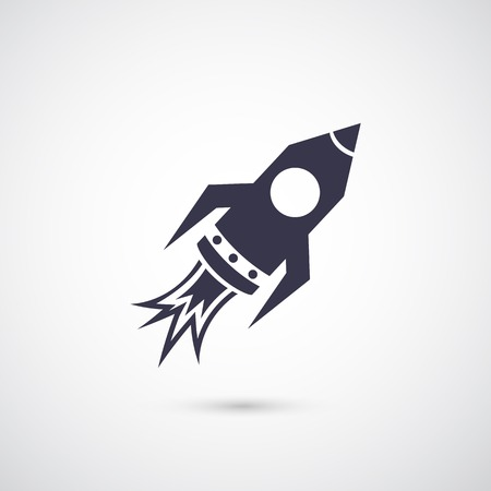 Vector silhouette rocket icon isolated on background Vector