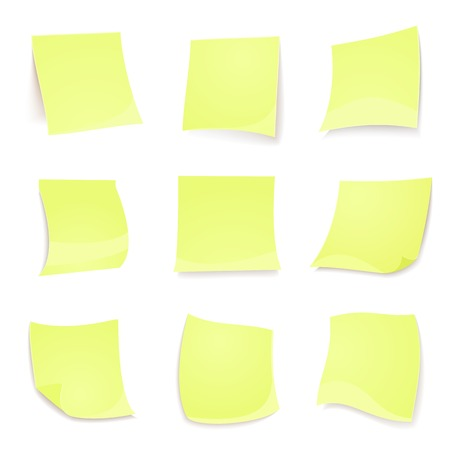 Vector green stickies note isolated on white background in realistic style Vector