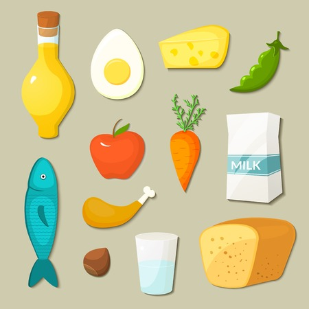 Healthy food vector icons set in flat style