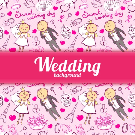 Vector romantic wedding illustration in cartoon style with cute characters and central space for text Vector