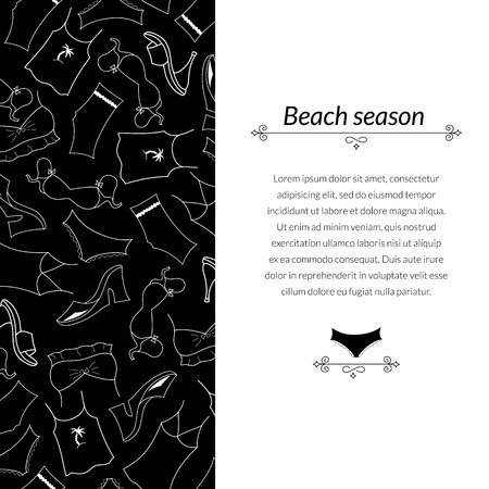 Black and white vector illustration clothes woman, with place for text