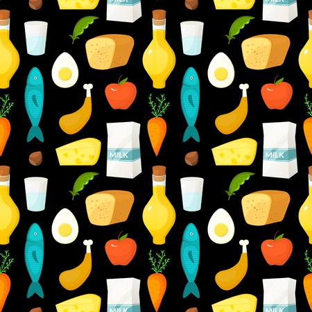 Healthy food vector seamless pattern with objects in flat style on dark background